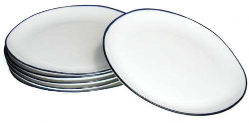 Blue rim Ocean Wave White ceramic large plates 26cm X 6